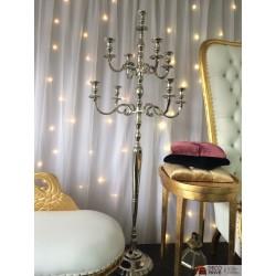 Location chandelier H 180 cm argenté à 9 branches