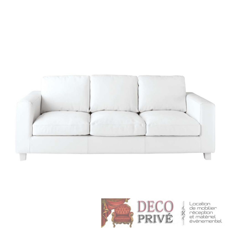 Canap cuir blanc 3 places louer location de meubles paris et r gion pari - Canape 3 places cuir blanc ...