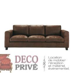 Location canapé cuir marron vieilli