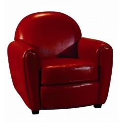 Location de Fauteuil cuir rouge club 1 place