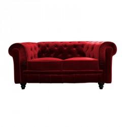 Location canapé Chesterfield en velours rouge