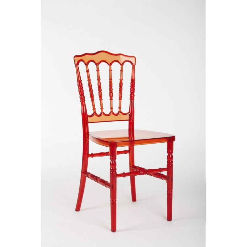 location chaise napol on rouge transparente location de meubles paris et r gion parisienne. Black Bedroom Furniture Sets. Home Design Ideas