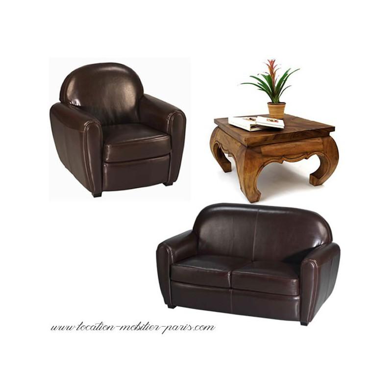Table basse avec fauteuil club for Canape avec fauteuil