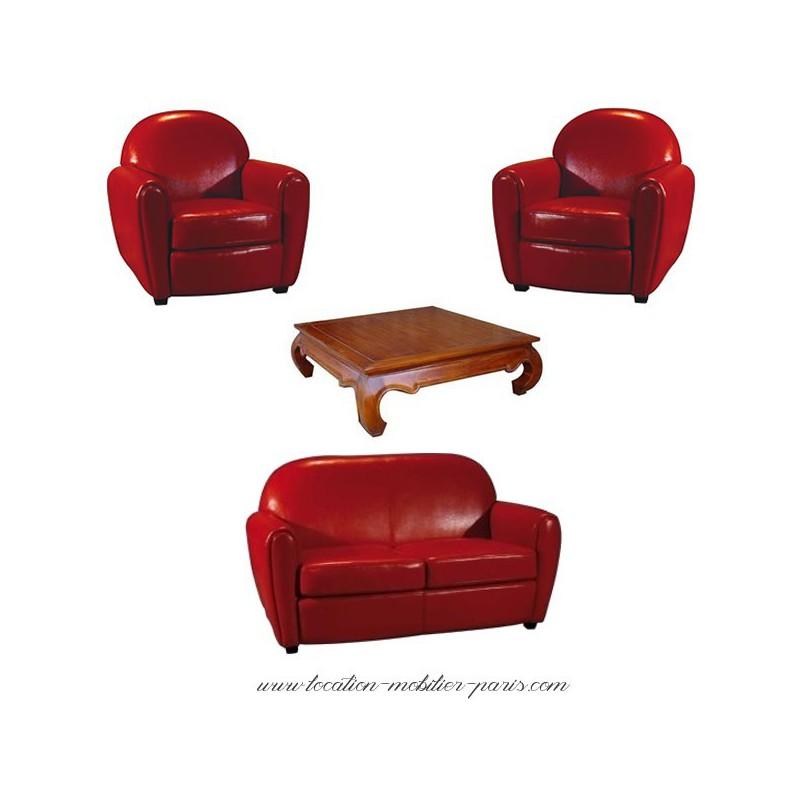 Location 2 fauteuils 1 canap rouge et 1 table basse for Fauteuil pour table basse