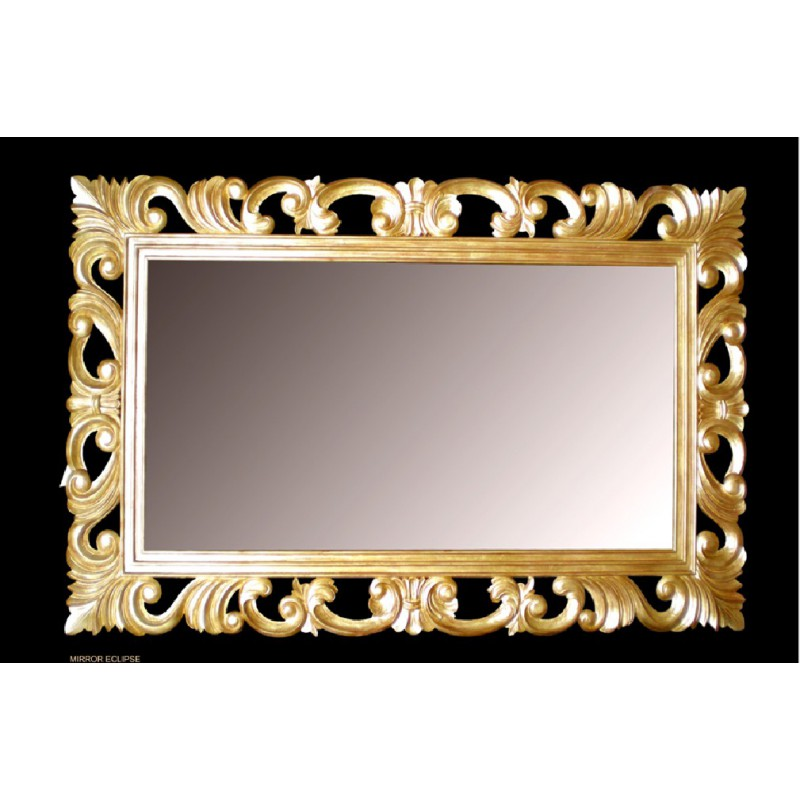 Location miroir en bois dor modele eclipse location de for Miroir collable