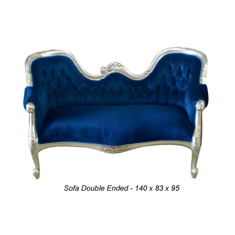 canap baroque velours bleu nuit et argent double end petit modele location de meubles paris. Black Bedroom Furniture Sets. Home Design Ideas
