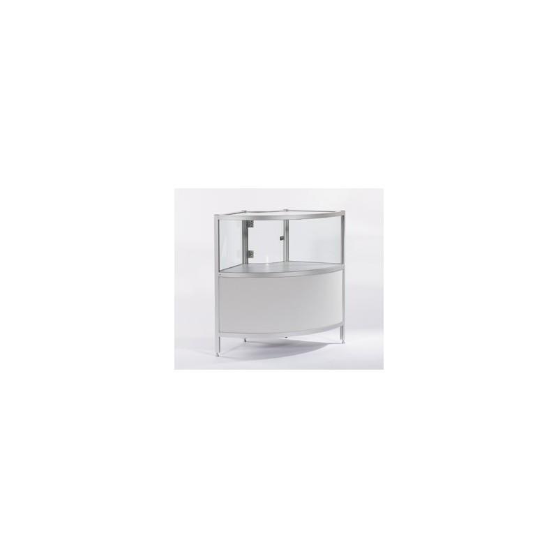 Location vitrine d 39 angle gris et en verre h 100 cm for Location en meuble