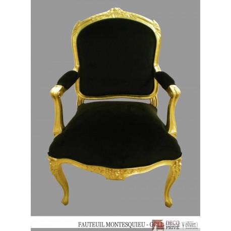 Location fauteuil velours noir et bois doré