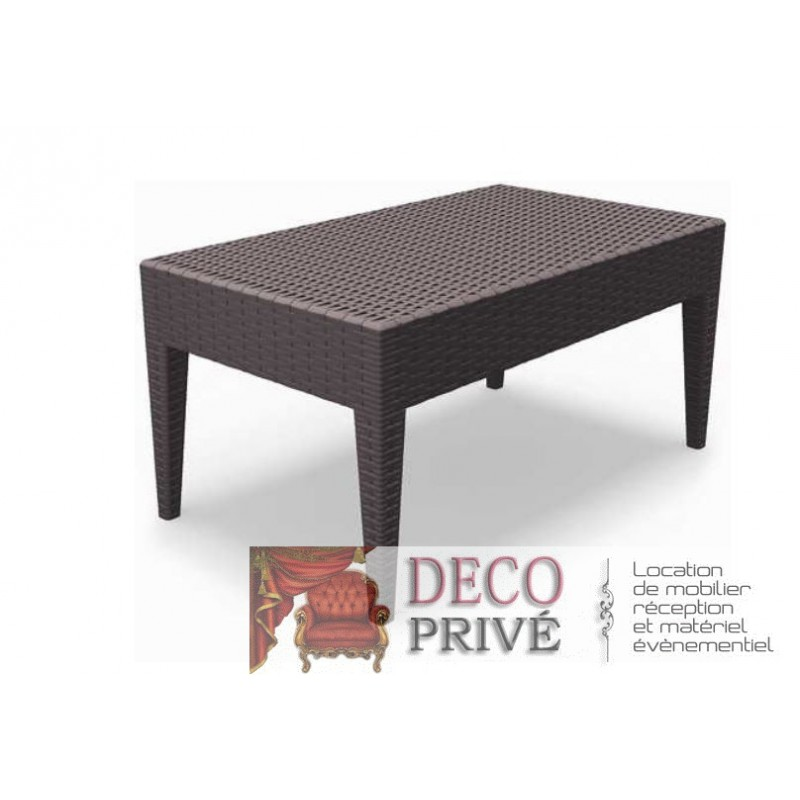 Location table de jardin r sine tress e couleur chocolat - Table basse resine tressee ...
