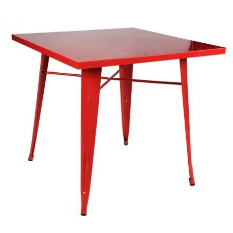 Location table en metal rouge