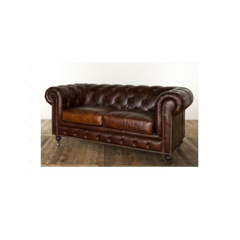 Louer canap chesterfield en cuir marron vieilli - Chesterfield 2 places cuir ...