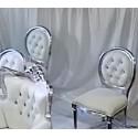 Chaise médaillon blanche et argent  louer