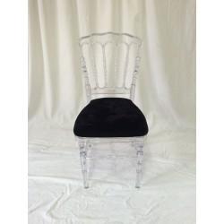 Chaise napoleon 3 transparente et galette noire