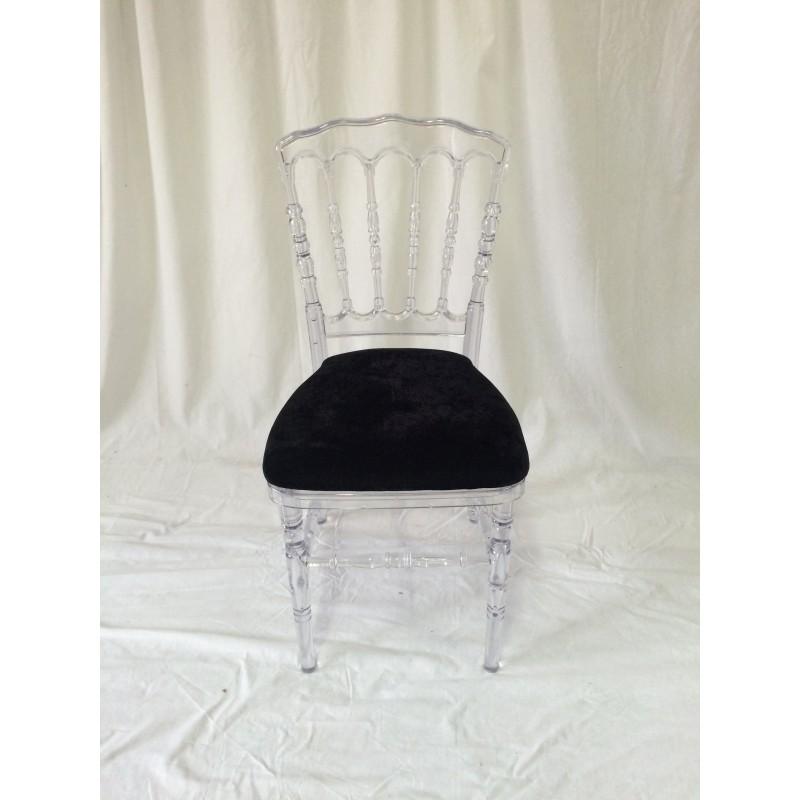 chaise style napoleon transparente et galette noire. Black Bedroom Furniture Sets. Home Design Ideas