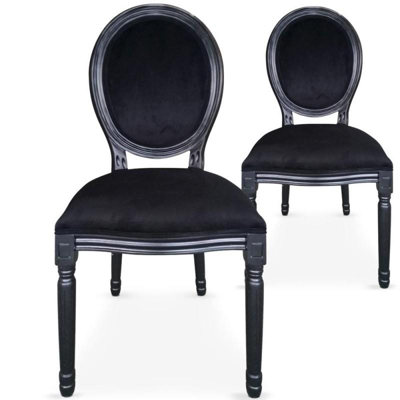 louer chaise m daillon en velours noir. Black Bedroom Furniture Sets. Home Design Ideas