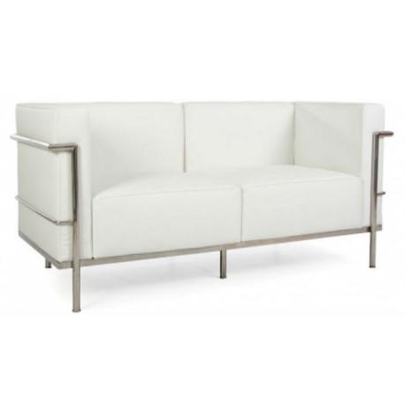 Location canapé cuir blanc style Le Corbusier