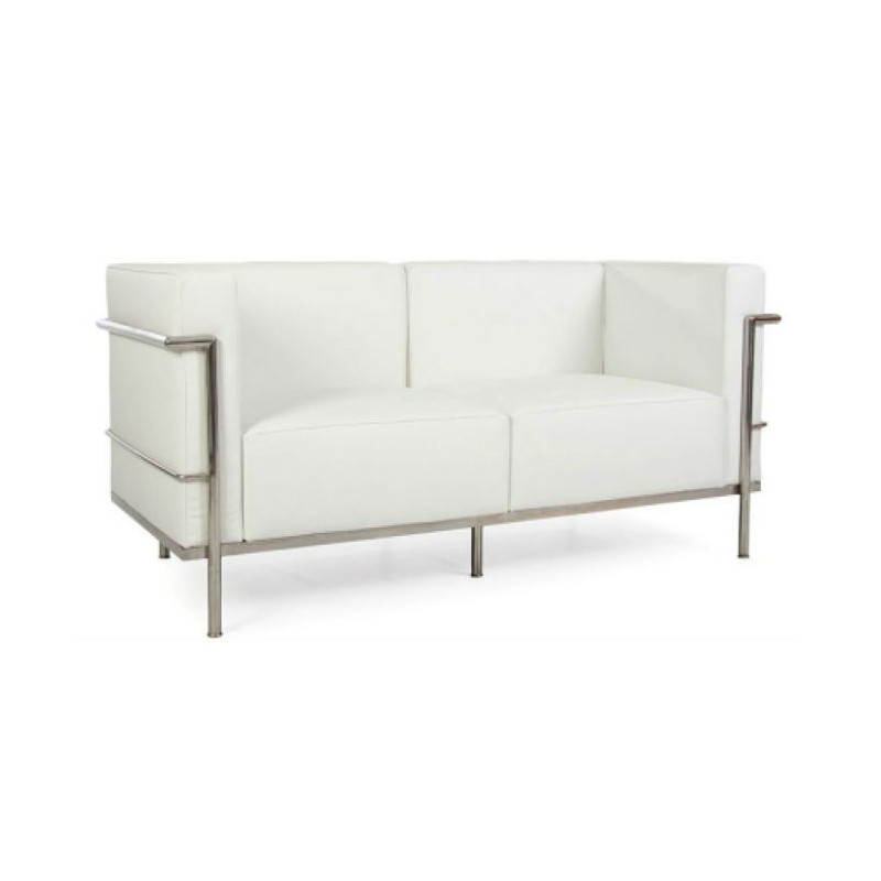 location canap en cuir blanc le corbusier 126 events. Black Bedroom Furniture Sets. Home Design Ideas