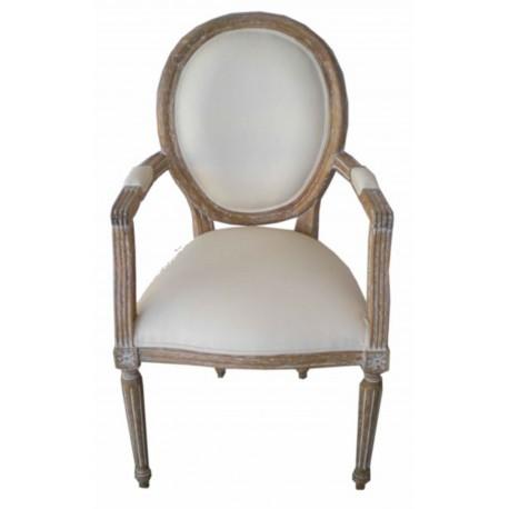 location fauteuil cabriolet ceruse et tissu grege - Cabriolet Fauteuil