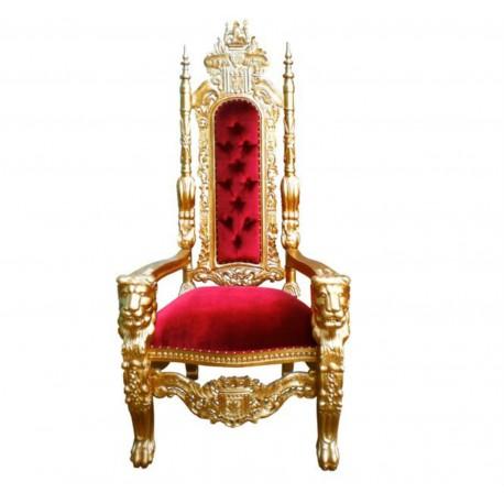Location trône de père Noël ou de Mariage en bois doré et velours rouge