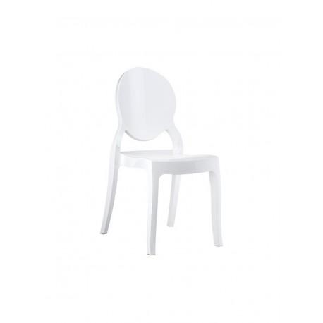 Chaise médaillon en plastique blanc
