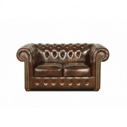 Canapé chesterfield 2 places en cuir véritable