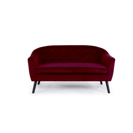 Location canapé scandinave en velours rouge bordeaux