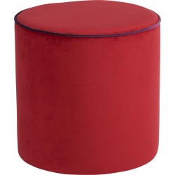 Location pouf rond en velours rouge