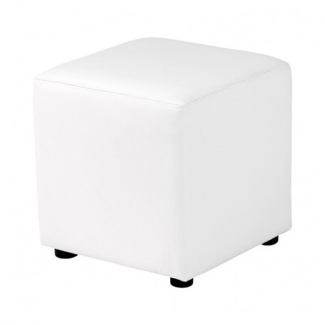 Location pouf carré en simili blanc