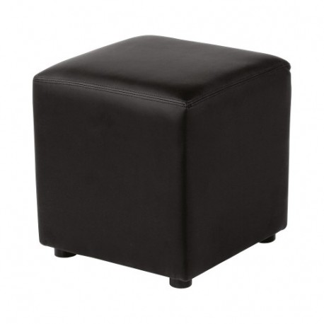 Pouf lounge en simili noir