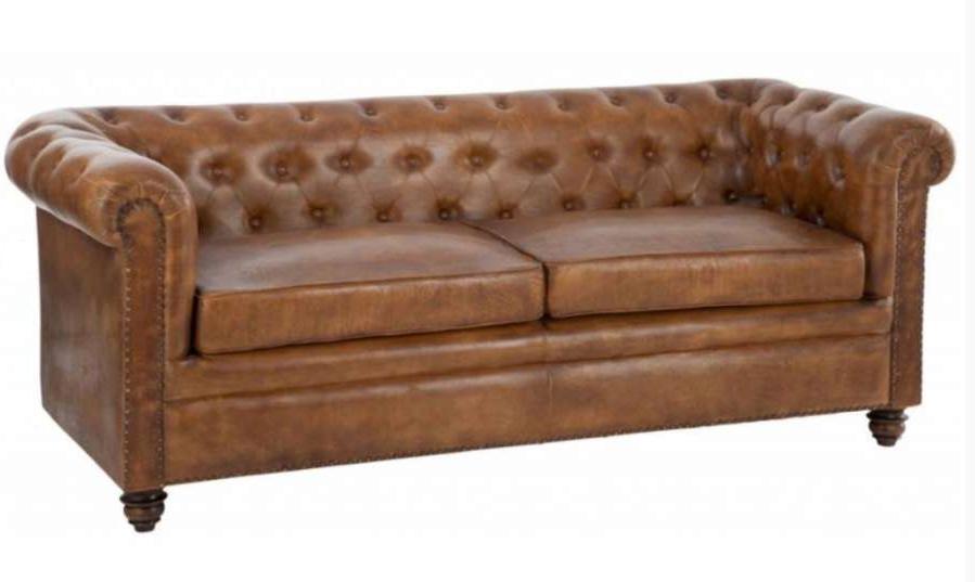nouveau concept 9842f 4d94f Canapé chesterfield 2 places en cuir marron vieilli