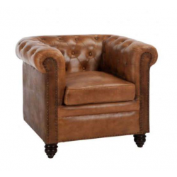 Location fauteuil chesterfield cuir marron vieilli