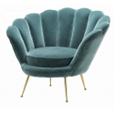 Fauteuil forme coquillage vert canard
