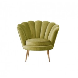 Fauteuil forme coquillage vert olive