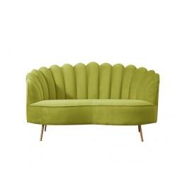 Location canapé arrondi velours vert olive