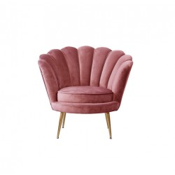 Location fauteuil forme coquillage rose poudré
