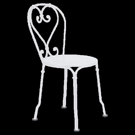 Chaise empilable en acier blanc neige