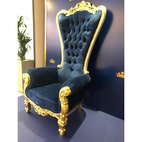 Trône baroque velours bleu et bois doré