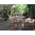 Location fauteuil de jardin canne naturelle et coussin