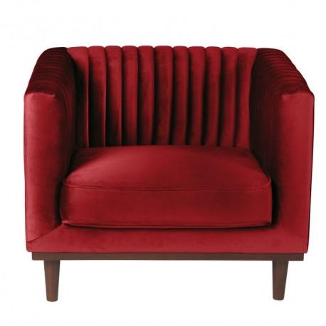 Location fauteuil en velours rouge