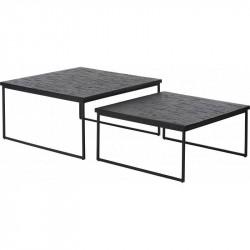 Table basse carrée 70 x 70 cm métal et bois