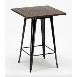 Location table acier et bois H 75 cm