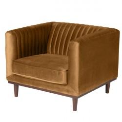 Location fauteuil velours marron caramel