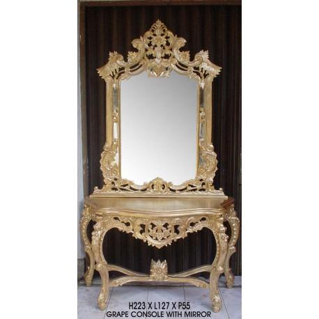 Location Console Grappe Miroir Sculptes Dores