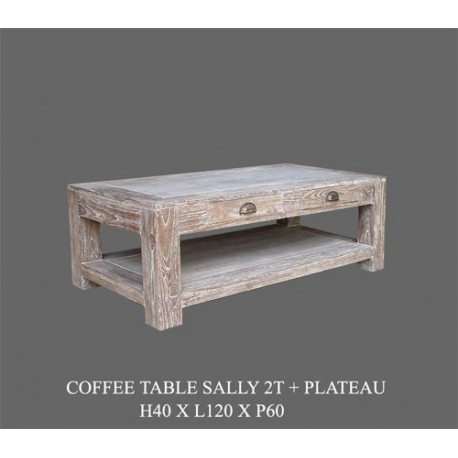 location Table Basse Sally Cerusee 100 X 60 Cm -disponible