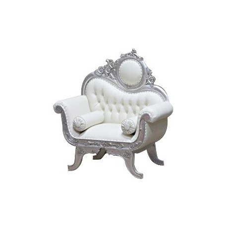 location Fauteuil Baroque Simili Blanc Victorian 1 Place