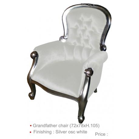 Location fauteuil soir'ée imitation cuir blanc et bois argent'