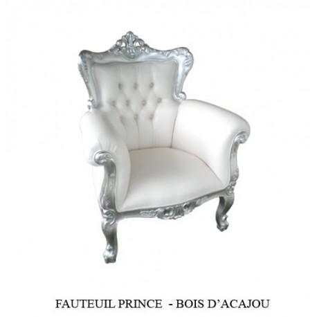 location Fauteuil Prince Bois Argente Et Simili Blanc