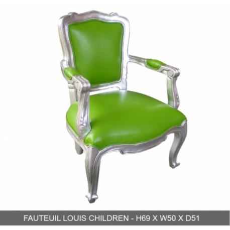 location Fauteuil Enfant Bois Argente Et Simili Vert