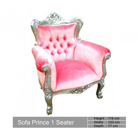Fauteuil Baroque Prince Velours Rose