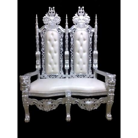 Location tr ne mari s 2 places argent cuir blanc - Location de chaise pour mariage ...